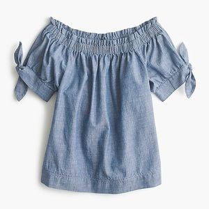 J Crew Off the Shoulder Chambray Shirt Top XS